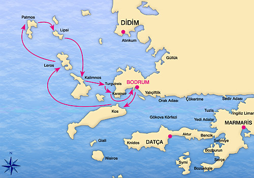 Map of Bodrum North Dodecanese Route